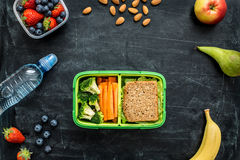 Instruisez la gamelle avec le sandwich, les légumes, l'eau et les fruits Photographie stock