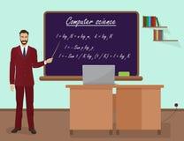 Instruisez le professeur masculin de l'informatique dans le concept de classe d'assistance Illustration de vecteur illustration libre de droits