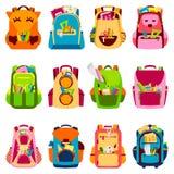 Instruisez le sac à dos d'école d'enfants de nouveau à l'illustration de vecteur de sac à dos à école illustration stock
