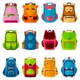 Instruisez le sac à dos d'école d'enfants de nouveau à l'illustration de vecteur de sac à dos à école illustration de vecteur