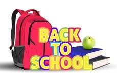 Instruisez le sac à dos, les livres, la pomme et l'inscription de nouveau à l'école dessus Photos stock