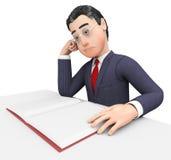 Instruit exécutif et étude de Reading Book Means d'homme d'affaires Photographie stock