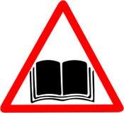 Instrukcja podręcznika ręcznego przewdonika ostrzegawcza ikona Otwarta książka wzywa wizerunku symbol Czerwony prohibicja ostrzeg ilustracji