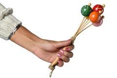 Instrument de musique coloré dans la main d'une femme Image stock
