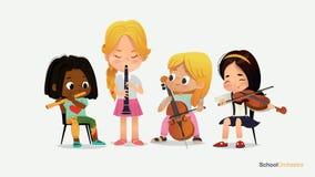 Instrument de musique différent de jeu d'orchestre de fille d'enfants illustration de vecteur