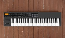 Instrument de musique - fond noir en bois de clavier du MIDI photo stock