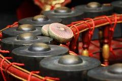 Instrument de musique thaïlandais, instrument de gong pour le rythme (focu choisi Photographie stock libre de droits