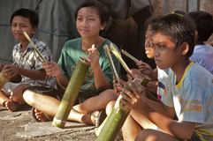 Instrument de musique traditionnel de Balinese (kulkul) Image stock