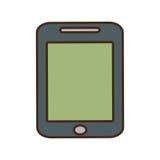 instrument de technologie d'écran de vert de smartphone de bande dessinée Image stock