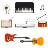 Instrument för musikmusikbandkonsert, plan vektorillustration Arkivbild