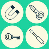 Instrument Icons Set. Collection Of Turn Screw, Attraction, Clippers And Other Elements. Also Includes Symbols Such As Stock Image
