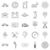 Instrument icons set, outline style. Instrument icons set. Outline set of 25 instrument vector icons for web isolated on white background Royalty Free Stock Photography