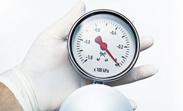 Instrument of Measurement. Doktor is holding a Medical Instrument of Measurement Stock Photo