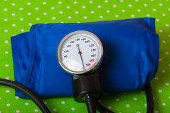 Instrument for measuring pressure and stethoscope Stock Images