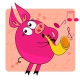 Instrument musical de pièce animale de dessin animé. Images stock