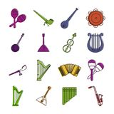 Instrument muzyczny ikony set, koloru konturu styl ilustracji
