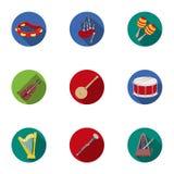 Instrument muzyczny ustawiać ikony w mieszkanie stylu Duża kolekcja instrumentu muzycznego symbolu zapasu wektorowa ilustracja Obrazy Stock