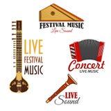 Instrument muzyczny wektorowe ikony dla muzyka koncerta ilustracja wektor