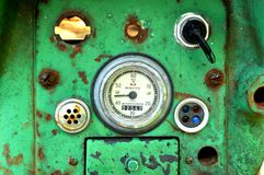 Instrument panel on abandoned tractor Royalty Free Stock Image