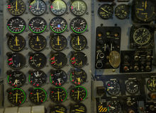 Instrument panel in airplane simulator Royalty Free Stock Photography