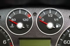 Instrument panel of the car. The instrument panel of the car. Red arrow Stock Photos