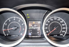 The instrument panel of the car is out of motion. Modern car dashboard with moving arrows Royalty Free Stock Photo