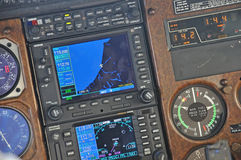 All you need to know. Instrument panel of a light aircraft showing approach to Greymouth, New Zealand Royalty Free Stock Photo