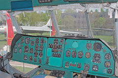 Instrument panel of Mil V-12 helicopter. MONINO, RU - MAY 9: main instrument panel of Mil V-12, the largest helicopter in the world demonstrated in the Central Royalty Free Stock Photos