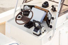 Instrument panel and steering wheel Stock Images