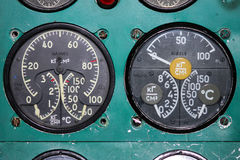 The instrument panel of the Tu-154M aircraft. Detail of a old airplane cockpit The instrument panel of the Tu-154M aircraft, Taganrog, Russia, January 12, 2010 Royalty Free Stock Photo