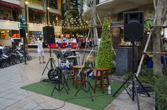 Instrument for play music of live band playing music for show. Travelers people at organic & street market in night time on May 14, 2016 in Bangkok, Thailand Stock Photography
