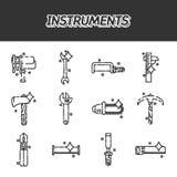 Instrument sänker symbolsuppsättningen stock illustrationer
