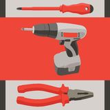 Instrument tool set - screwdriver, drill and Stock Images