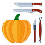 Instrument and tools for pumpkin face Stock Photography