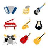 Instrument-Vektorikonen der beliebten Musik des Satzes stock abbildung