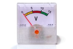 Instrument voltmeter on white. Instrument voltmeter isolated on white background royalty free stock photos