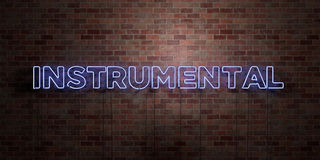 INSTRUMENTAL - fluorescent Neon tube Sign on brickwork - Front view - 3D rendered royalty free stock picture. Can be used for online banner ads and direct Stock Photos