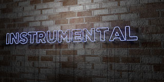 INSTRUMENTAL - Glowing Neon Sign on stonework wall - 3D rendered royalty free stock illustration. Can be used for online banner ads and direct mailers Stock Image