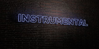 INSTRUMENTAL -Realistic Neon Sign on Brick Wall background - 3D rendered royalty free stock image. Can be used for online banner ads and direct mailers Royalty Free Stock Photos