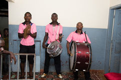 Instrumentalists musicians. Anekro, ivory coast-August 20, 2015: a group of instrumentalists musicians perform at the home of the king of the region. It is the Royalty Free Stock Photo