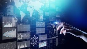 Instrumentbräda för affärsintelligens med grafen och symboler Stora data Handel och investering Modernt teknologibegrepp stock illustrationer