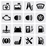 Instrumentbräda och auto symboler Arkivbild