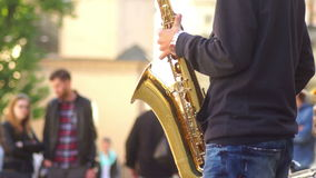Instrumentelle Straße des Musikkonzerts stock video