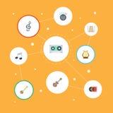 Instrumento de los iconos planos, acústico musicales, banjo y otros elementos del vector El sistema de Melody Flat Icons Symbols  Imagenes de archivo