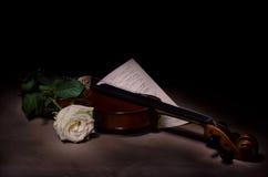 Instrumento de música del violín de la orquesta con la rosa del amarillo foto de archivo libre de regalías