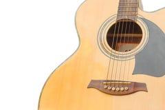 Instrumento de música do corpo da guitarra acústica no fundo branco Foto de Stock Royalty Free
