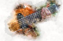 Instrumento de música quitar bonde da aquarela ilustração stock