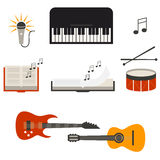 Instrumento do concerto da faixa da música, ilustração lisa do vetor Fotografia de Stock
