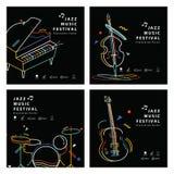 Instrumento musical do quadrado 4 do cartaz da bandeira da música jazz ilustração stock
