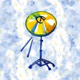 Instrumento musical Pratos dourados da aquarela Isolado em um azul ilustração do vetor